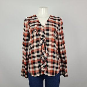 Part Two Plaid Ruffle Long Sleeve Top Size 10